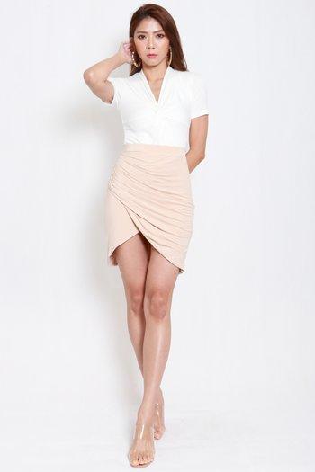 Una Overlap Ruch Skirt (Nude)