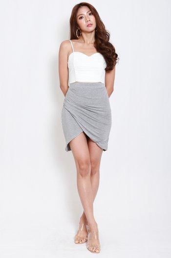 Una Overlap Ruch Skirt (Grey)