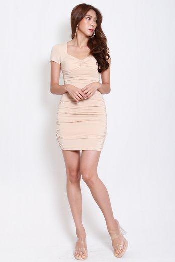 Sweetheart Ruch Tee Dress (Nude)