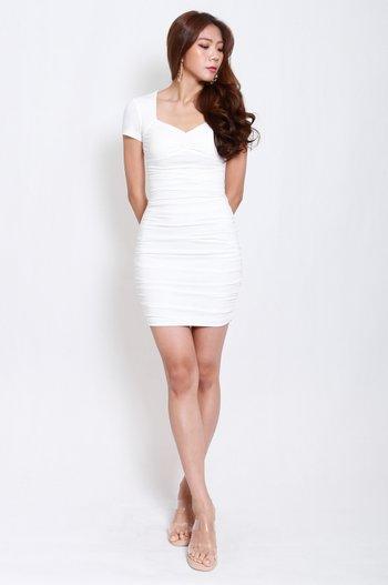 Sweetheart Ruch Tee Dress (White)