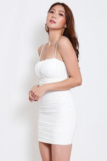 Ruch Mesh Spag Dress (White)