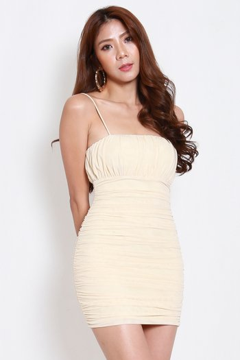 Ruch Mesh Spag Dress (Nude)