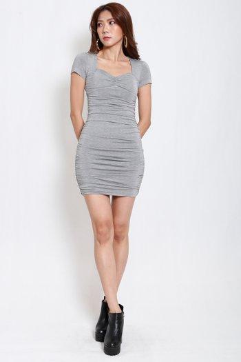 Sweetheart Ruch Tee Dress (Grey)