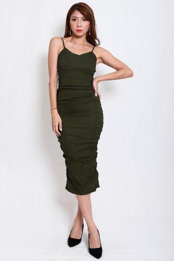 Sweetheart Ruch Midi Dress (Olive)
