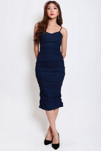 Sweetheart Ruch Midi Dress (Navy)