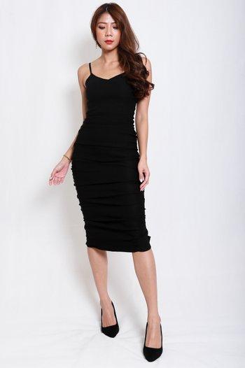 Sweetheart Ruch Midi Dress (Black)
