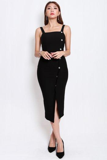 *Premium* Crystal Square Neck Dress (Black)