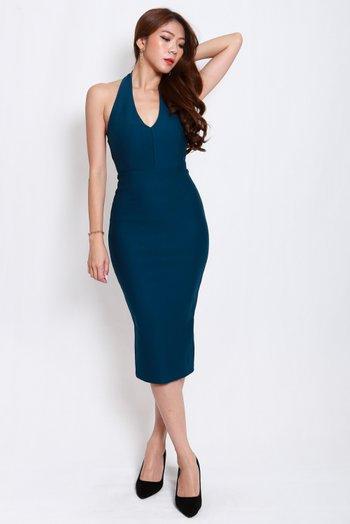 *Premium* Low Back Halter Dress (Teal)