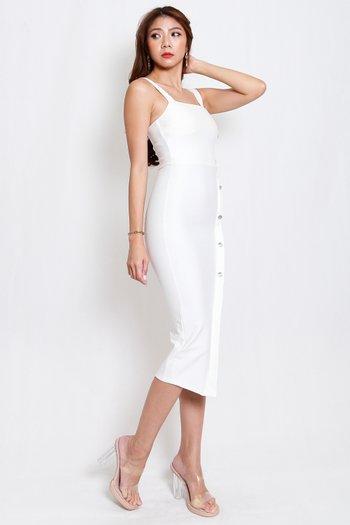 *Premium* Crystal Square Neck Dress (White)