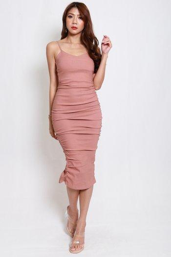 Sweetheart Ruch Midi Dress (Tan-Nude)