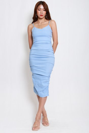 Sweetheart Ruch Midi Dress (Baby Blue)