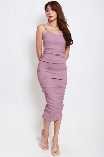 Sweetheart Ruch Midi Dress (Lavender)