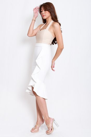 *Premium* Waterfall Ruffle Skirt (White)