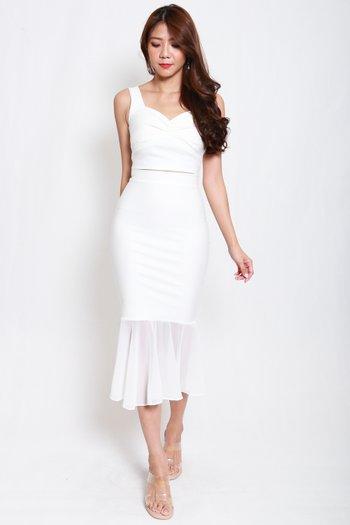 *Premium* Mermaid Chiffon Skirt (White)