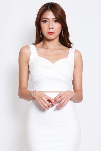 *Premium* Sweetheart Ruch Top (White)