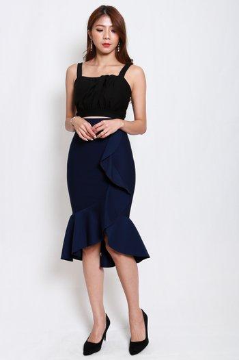 *Premium* Waterfall Ruffle Skirt (Navy)