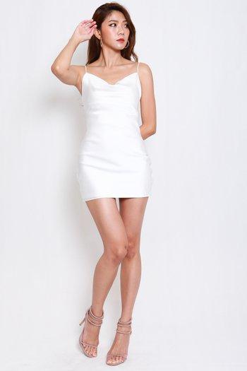 Satin Cowl Neck Tie Back Dress (White)