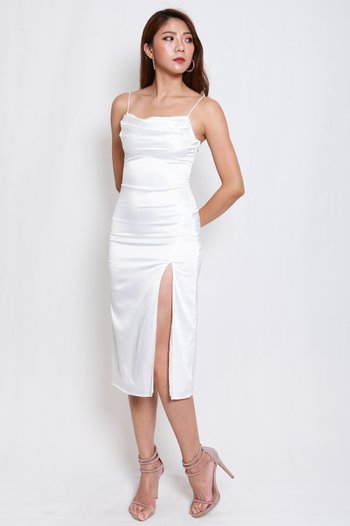Satin Cowl Neck Slit Midi Dress (White)