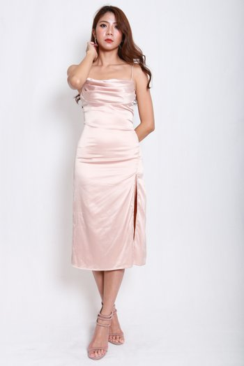 Satin Cowl Neck Slit Midi Dress (Champagne Rose)