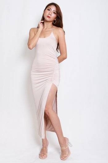 High Slit Ruch Maxi (Nude)