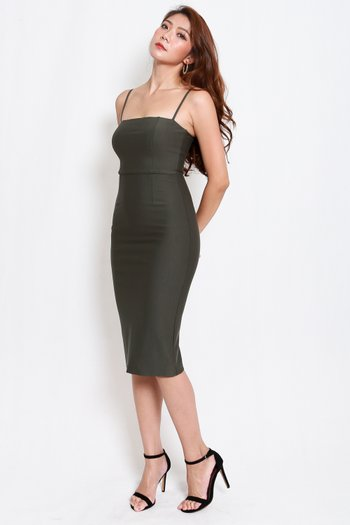 *Luxe* Classic Midi Spag Dress V2 (Olive)