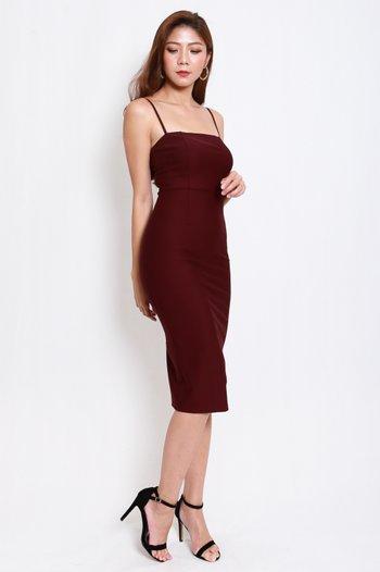 *Luxe* Classic Midi Spag Dress V2 (Burgundy)