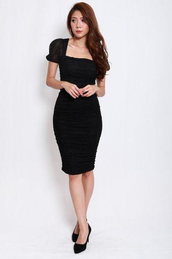 Sleeved Mesh Midi Dress (Black)