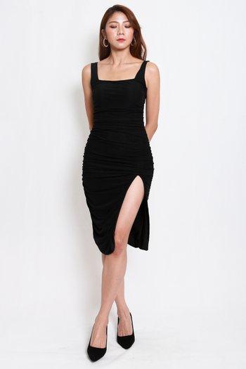 Square Neck Mesh Slit Dress (Black)