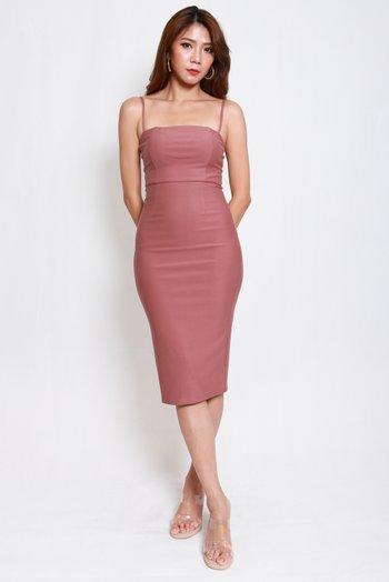 *Luxe* Classic Midi Spag Dress V2 (Tea Rose)