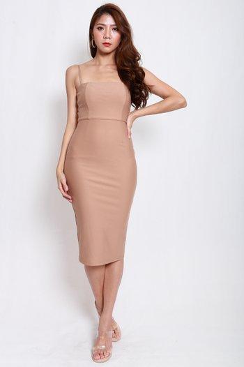 *Luxe* Classic Midi Spag Dress V2 (Latte)