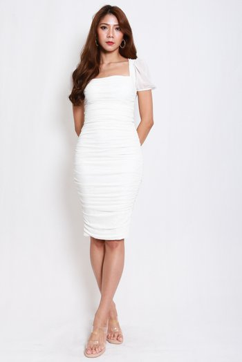 Sleeved Mesh Midi Dress (White)