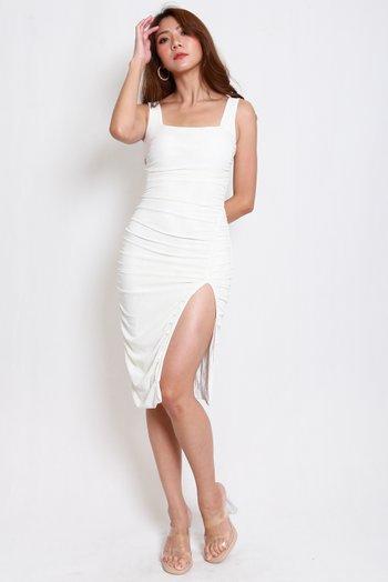 Square Neck Mesh Slit Dress (White)