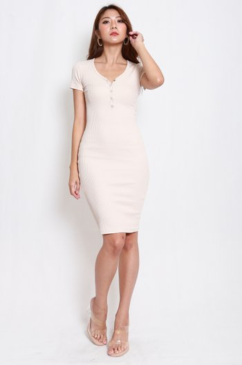 Buttons Ribbed Midi Dress (Nude)