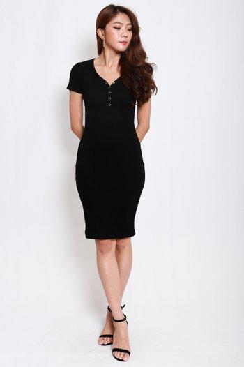 Buttons Ribbed Midi Dress (Black)